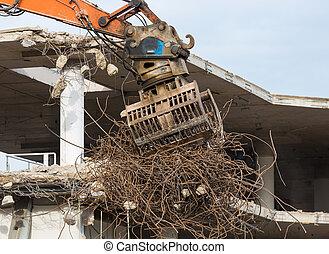 bâtiment, piliers, planchers, démolition, béton