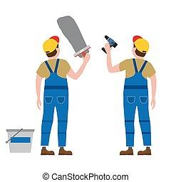 bâtiment, plâtre, illustration, isolated., ouvriers, vecteur, screwdriver., mettre, industrie, réparation, intérieur, nouveau, construction, maison