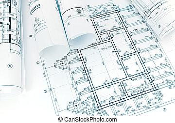 bâtiment, plan, plans, roulé, fond, architectural