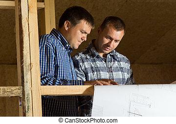 bâtiment, plan, sérieusement, regarder, Architectes