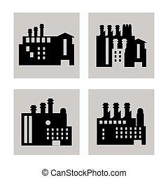 bâtiment, plante, graphique, usine, silhouettes, vecteur, icon., cheminée