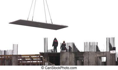 bâtiment, plaque, construction, montage