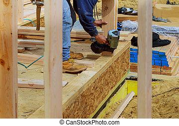 bâtiment, plaque, fonctionnement, plancher, sommet, ouvrier, fusil, air, clou, murs, coin, entrepreneur, nailer, premier