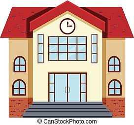 bâtiment, plat, école, conception