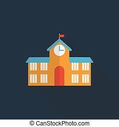 bâtiment, plat, école, illustration, vecteur, long, icône, ombre