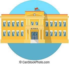 bâtiment, plat, école, long, ombre, icône