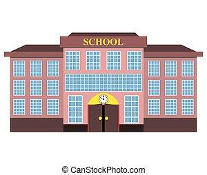 bâtiment, plat, école, moderne, conception