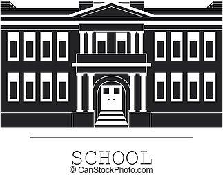 bâtiment, plat, école, silhouette, style, illustration