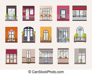 bâtiment, plat, éléments, architectural, coloré, fenetres, démodé, moderne, balcons, collection, details., élégant, vecteur, paquet, extérieur, décorations, styles., ou, illustration.