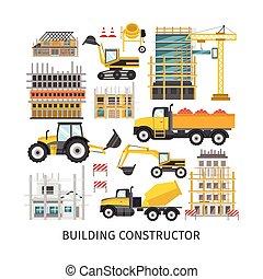 bâtiment, plat, éléments, constructeur