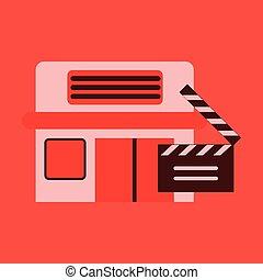bâtiment, plat, cinéma, illustration, vecteur, slapstick, icône