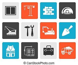 bâtiment, plat, construction, icône