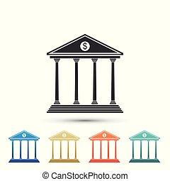 bâtiment, plat, ensemble, coloré, isolé, icons., arrière-plan., éléments, vecteur, illustration, blanc, icône, banque, design.