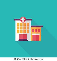 bâtiment, plat, hôpital, long, ombre, icône