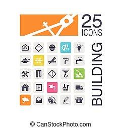 bâtiment, plat, icônes