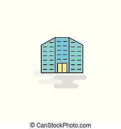 bâtiment, plat, icon., vecteur