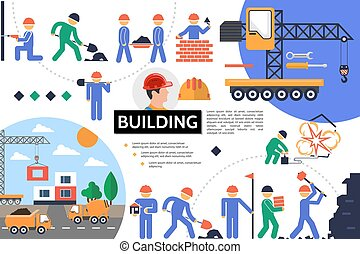 bâtiment, plat, infographic, gabarit