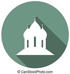 bâtiment, plat, long, église, ombre, icône