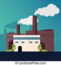 bâtiment, plat, manufacturing., industriel, illustration., vecteur, factory.
