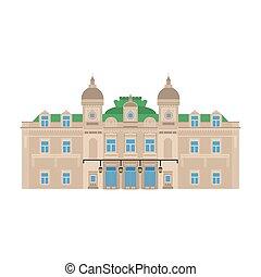 bâtiment, plat, monte, carlo., ville, architecture., voyage, monaco, vacances, pays, european., casino., grandiose, repère, mondiale, icône, tourisme