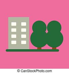 bâtiment, plat, multi-storey, illustration, vecteur, icône