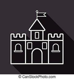 bâtiment, plat, ombre, long, château, icône