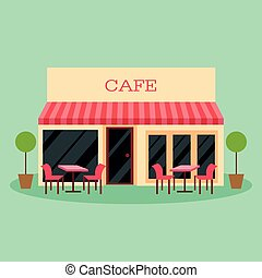 bâtiment, plat, restaurant, illustration, vecteur, café, icône