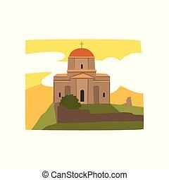 bâtiment, plat, saint, orthodoxe, tbilisi., géorgien, architecture., historique, vecteur, cathédrale, church., religieux, georgia., trinité, icône