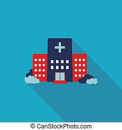 bâtiment, plat, style, hôpital, long, ombres, icône