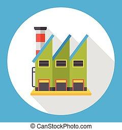 bâtiment, plat, usine, icône