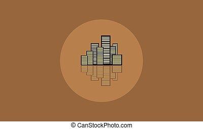 bâtiment, plat, vecteur, icône, ville