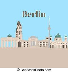 bâtiment, plat, ville, voyage, architecture, berlin, icône, repères, germany.