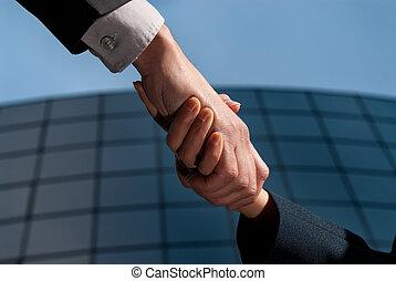 bâtiment, poignée main, affaires femme, moderne, unrecognizable, fond, homme