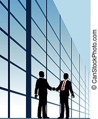 bâtiment, poignée main, business, fenêtre, relation
