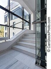 bâtiment, poli, escalier, bureau