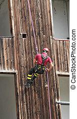 bâtiment, pompier, escalade, pendant, abseiling, montée