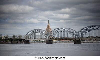 bâtiment, pont, daugava, académie, riga, sciences, lettonie,...