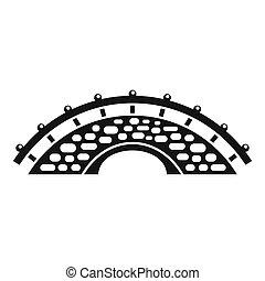 bâtiment, pont, icône, style, simple