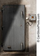 bâtiment, porte industrielle, fer, fermé, vieux