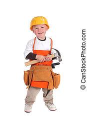 bâtiment, porter, ouvrier dur, chapeau construction