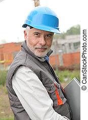 bâtiment, portrait, directeur, site construction