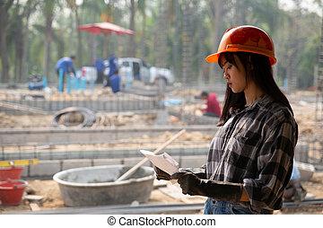 bâtiment, portrait, ouvrier construction, site
