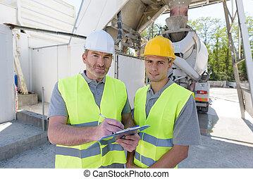 bâtiment, portrait, ouvrier, site, mâle, construction