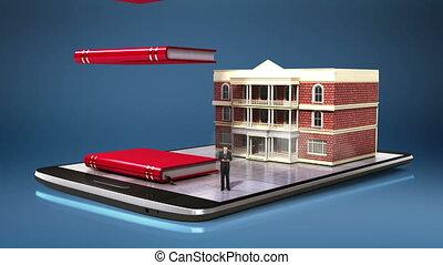 bâtiment, prêt, école, collage, université, tampon, dépenses, mobile., téléphone, education, campus, intelligent