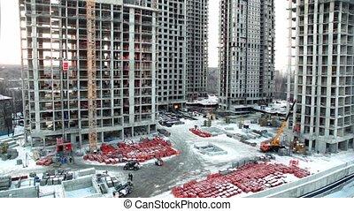 bâtiment, premier plan, secteur, ouvriers, site, dortoir, matériels, cityscape, construction