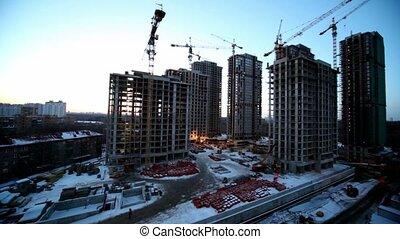 bâtiment, premier plan, site, ouvriers, matériels, construction, cityscape