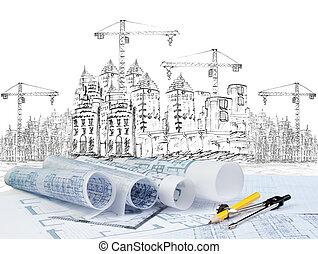 bâtiment, premier plan, usage, moderne, esquisser, thème, construction, plan, architectural, document