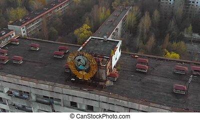 bâtiment, pripyat, soviétique, bras, manteau