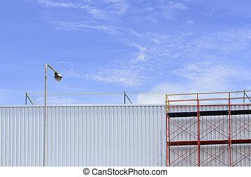 bâtiment, processus, échafaud, usine, rénover, entre, rouges