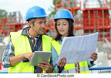 bâtiment, projet, régler, site, ingénieurs